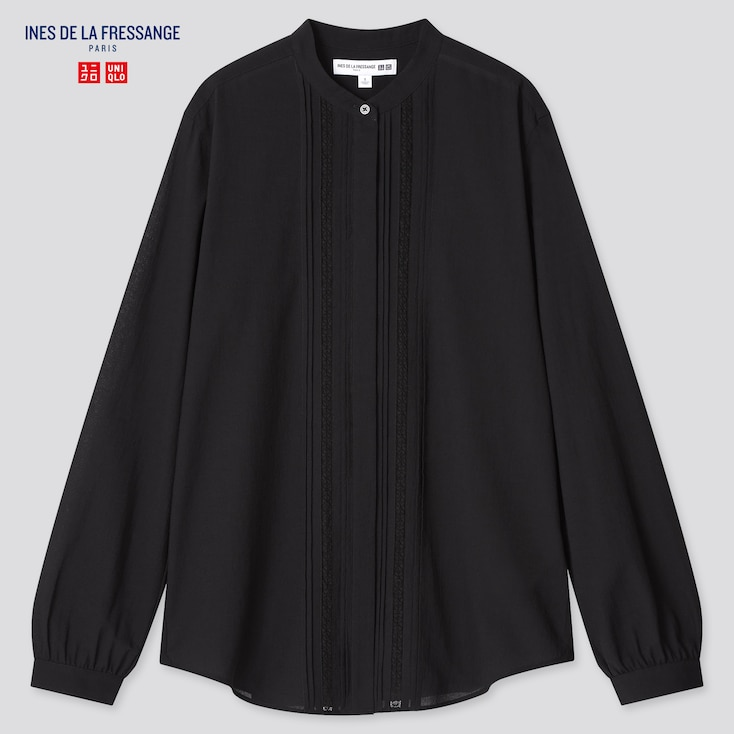 Women Sheer Cotton Stand Collar Long-Sleeve Shirt (Ines De La Fressange), Black, Large