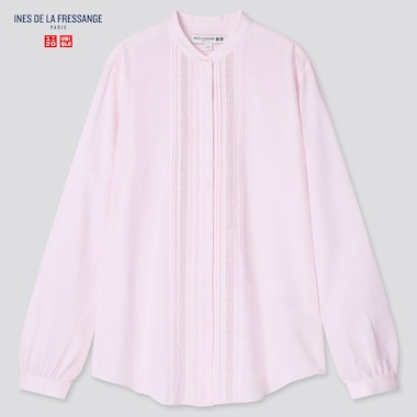 Women Sheer Cotton Stand Collar Long-Sleeve Shirt (Ines De La Fressange), Pink, Medium