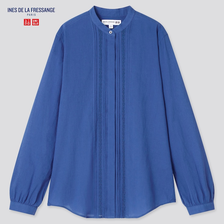 Women Sheer Cotton Stand Collar Long-Sleeve Shirt (Ines De La Fressange), Blue, Large