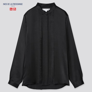 Women Silk Stand Collar Long-Sleeve Blouse (Ines De La Fressange), Black, Medium