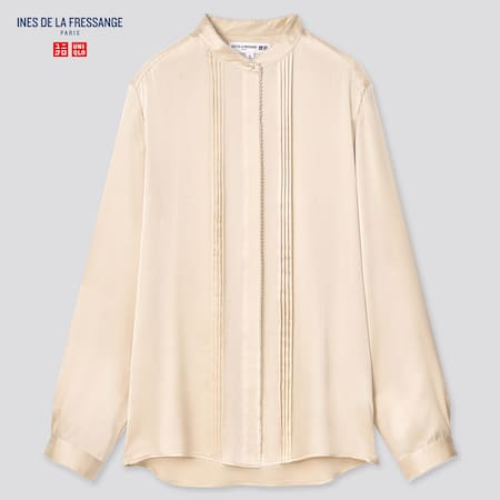 Women Ines Silk Stand Collar Long Sleeved Blouse