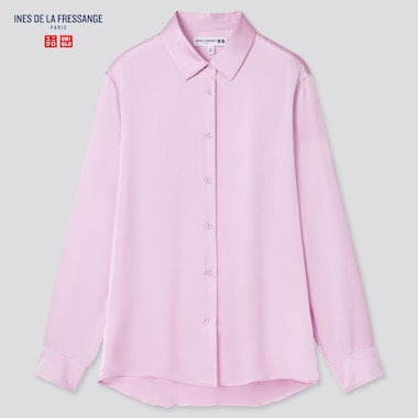 Women Silk Long-Sleeve Blouse (Ines De La Fressange), Pink, Medium