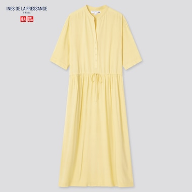 Women Rayon Gathered Short-Sleeve Dress (Ines De La Fressange), Yellow, Medium