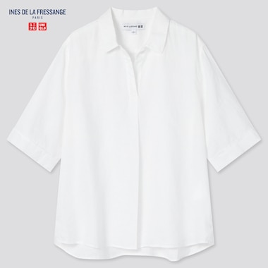 Women Linen Skipper Collar Half-Sleeve Shirt (Ines De La Fressange), Off White, Medium