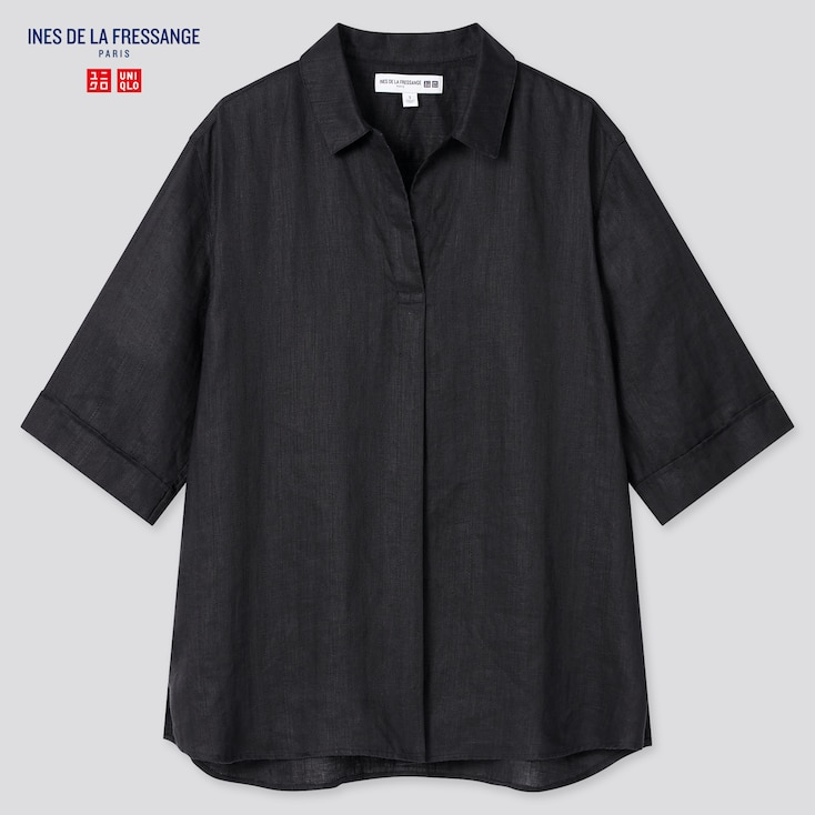 Women Linen Skipper Collar Half-Sleeve Shirt (Ines De La Fressange), Black, Large