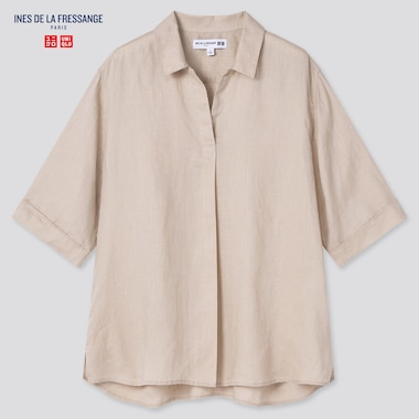 Women Linen Skipper Collar Half-Sleeve Shirt (Ines De La Fressange), Beige, Medium