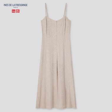 Women Rayon Printed Camisole Dress (Ines De La Fressange), Beige, Medium