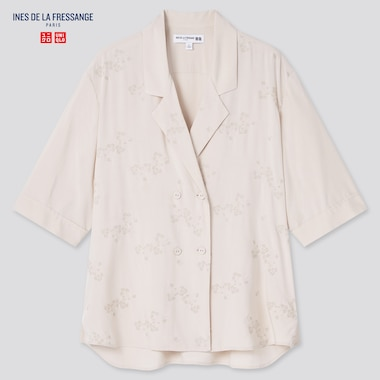 Women Rayon Open Collar Half-Sleeve Blouse (Ines De La Fressange), Beige, Medium