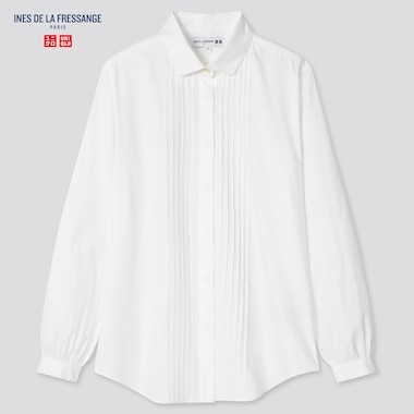 Women Cotton Twill Pintuck Long-Sleeve Shirt (Ines De La Fressange), White, Medium