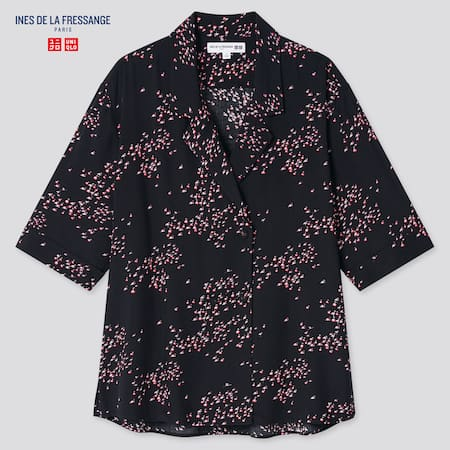 Women Ines Rayon Printed Open Collar Half Sleeved Blouse