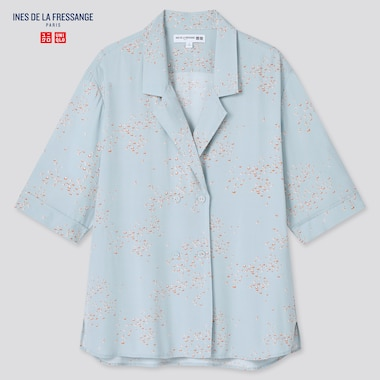 Women Rayon Printed Open Collar Half-Sleeve Blouse (Ines De La Fressange), Blue, Medium