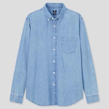 Men Slim Fit Denim Shirt (Button-Down Collar)