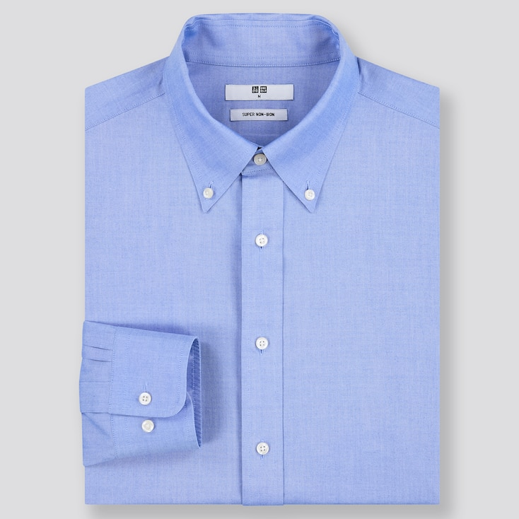 Men Super Non-Iron Regular-Fit Long-Sleeve Shirt (Online Exclusive), Blue, Large