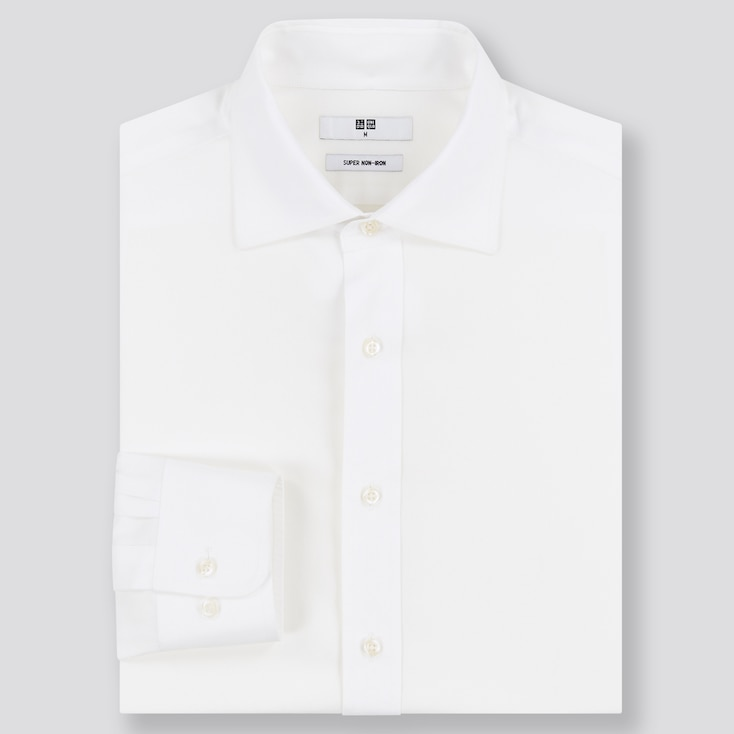 Men Super Non-Iron Regular-Fit Long-Sleeve Shirt (Online Exclusive), White, Large