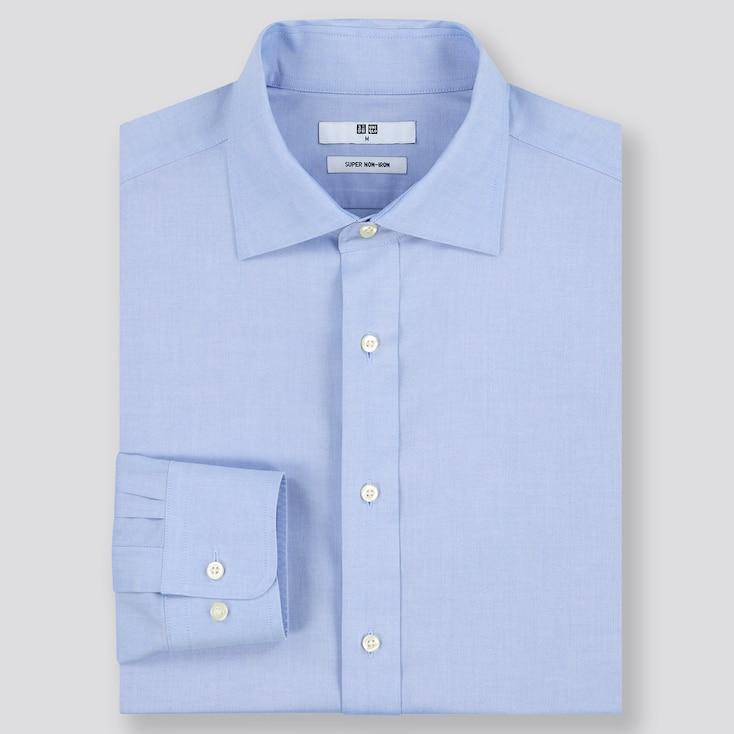 Men Super Non-Iron Regular-Fit Long-Sleeve Shirt (Online Exclusive), Light Blue, Large