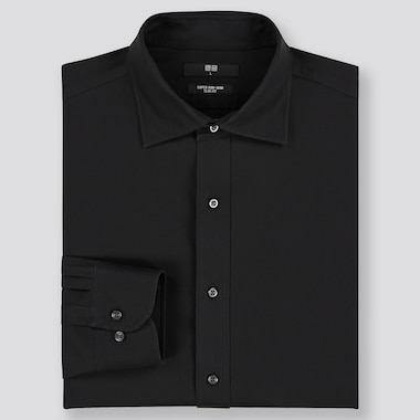 Men Super Non-Iron Slim-Fit Long-Sleeve Shirt, Black, Medium