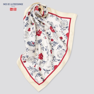 Women Silk Printed Scarf (Ines De La Fressange), Off White, Medium