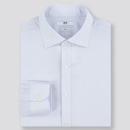 Men Easy Care Checked Stretch Slim Fit Shirt (Semi-Cutaway Collar)