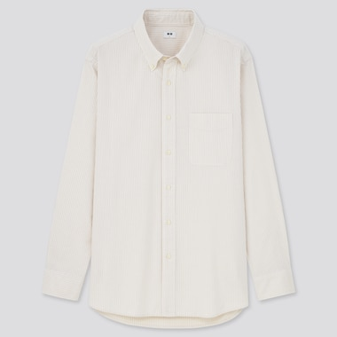 Men Oxford Striped Long-Sleeve Shirt (Online Exclusive), Beige, Medium