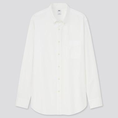 Men Oxford Slim-Fit Long-Sleeve Shirt, Off White, Medium
