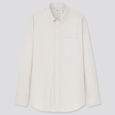Men Oxford Striped Slim-Fit Long-Sleeve Shirt, Beige, Medium