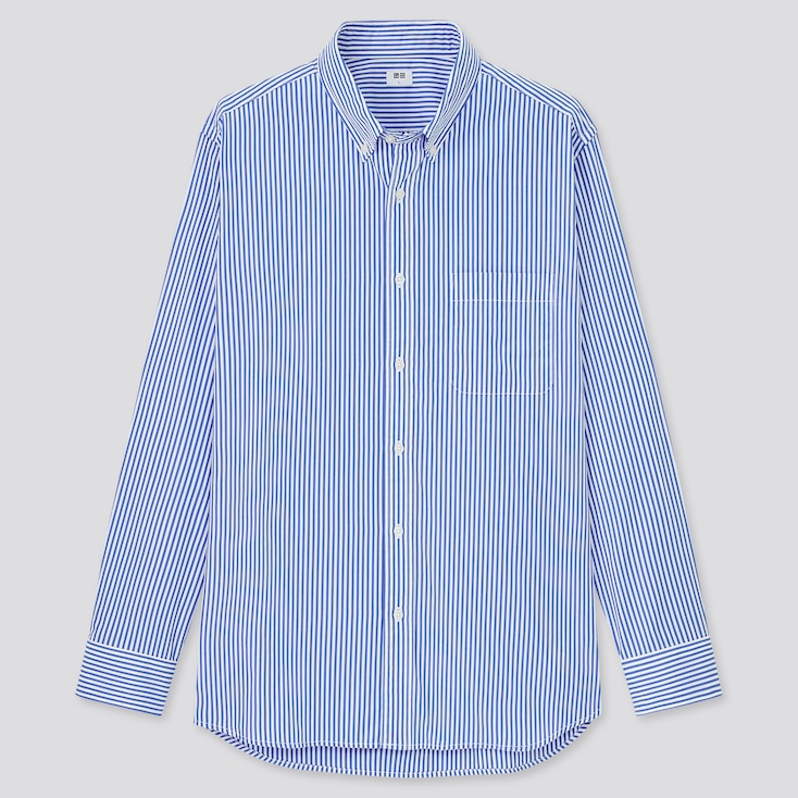 Extra Fine Cotton Broadcloth Long-Sleeve Shirt, Blue, Large