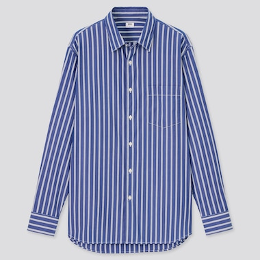 Men Extra Fine Cotton Broadcloth Regular Fit Striped Shirt (Regular Collar)