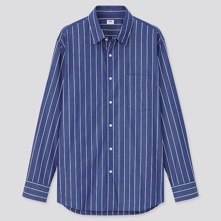 Men Extra Fine Cotton Broadcloth Long-Sleeve Shirt, Navy, Large