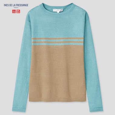 Women Linen Color Block Boat Neck Sweater (Ines De La Fressange), Blue, Medium