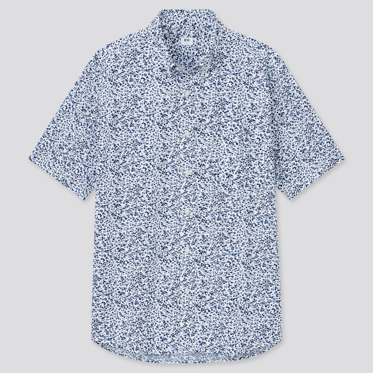 Men Extra Fine Cotton Broadcloth Short-Sleeve Shirt, Blue, Large