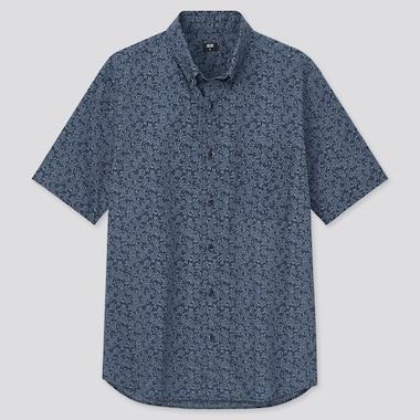 Men Extra Fine Cotton Broadcloth Short-Sleeve Shirt, Navy, Medium
