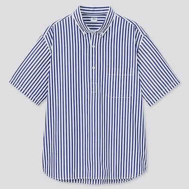 Men Extra Fine Cotton Broadcloth Regular Fit Striped Short Sleeved Pullover Shirt