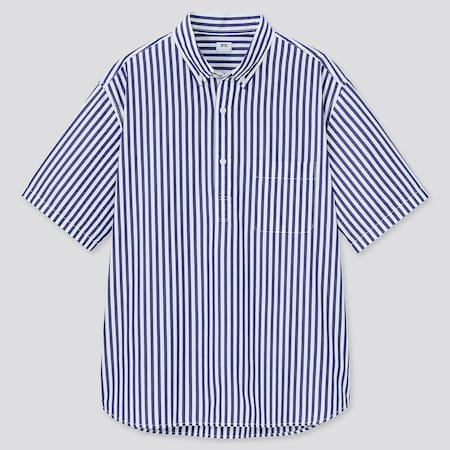 Men Extra Fine Cotton Broadcloth Regular Fit Striped Short Sleeved Pullover Shirt