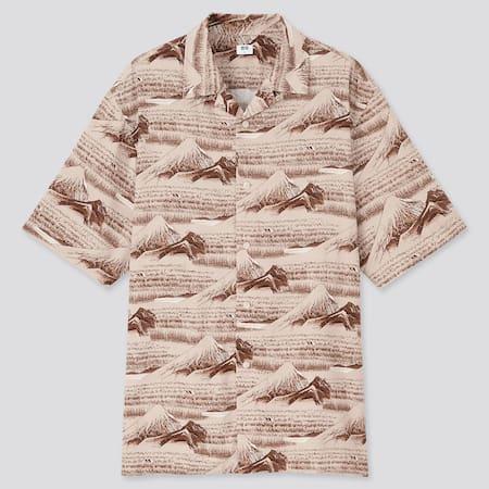 MEN Utagawa Hiroshige UT Graphic Short Sleeved Shirt (Open Collar)