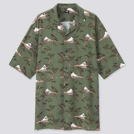 Men Utagawa Hiroshige Short Sleeved Shirt (Open Collar)