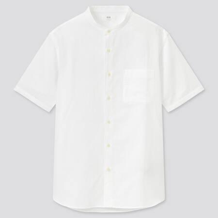 Herren Kurzärmliges Leinen Baumwoll Hemd mit Stehkragen