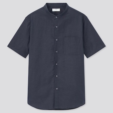 Men Linen Cotton Short-Sleeve Shirt, Navy, Medium