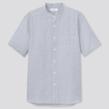 Men Linen Cotton Blend Striped Short Sleeved Shirt (Stand Collar)