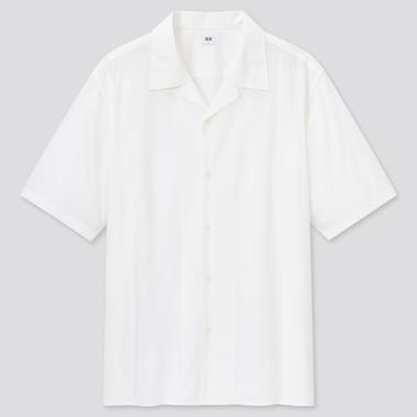 Herren Kurzärmliges Modal Baumwoll Hemd mit offenem Kragen.
