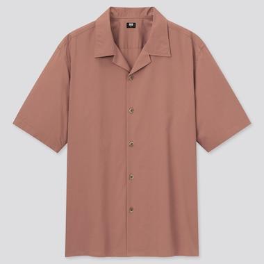 Men Open Collar Short-Sleeve Shirt, Orange, Medium