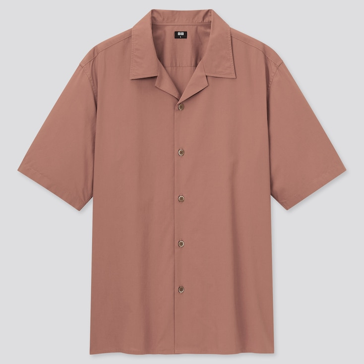 Men Open Collar Short-Sleeve Shirt, Orange, Large
