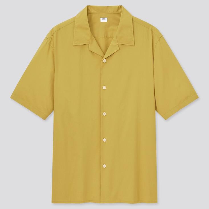 Men Open Collar Short-Sleeve Shirt, Yellow, Large