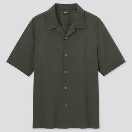 Camicia Cotone Modal Maniche Corte (Colletto Aperto) Uomo
