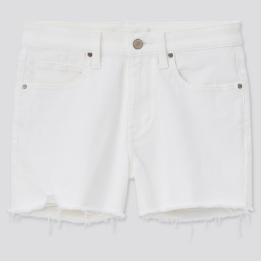 Women Ultra Stretch Denim Shorts, Off White, Medium