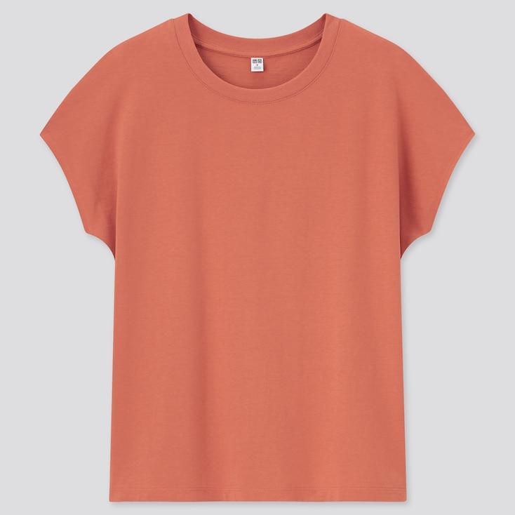 Women Smooth Cotton French Sleeve T-Shirt, Orange, Large
