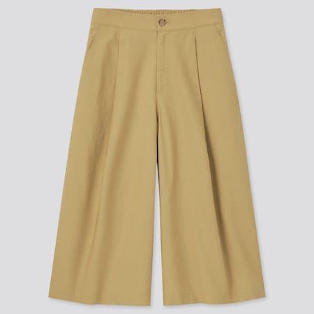 Damen Cropped Straight Leinen Baumwoll Hose (Wide Fit)