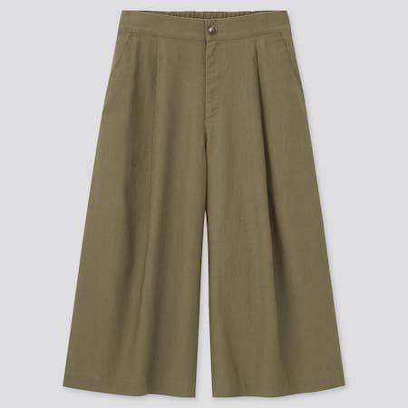 Pantalón Lino Algodón Recto Tobillero Mujer
