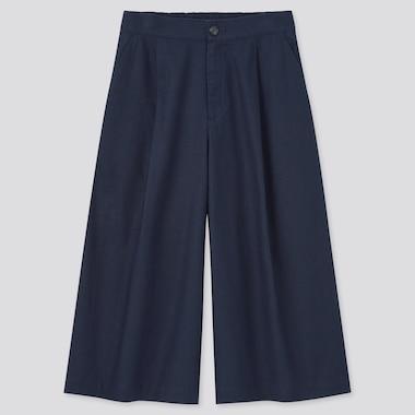 Pantalon 7/8ème en Lin et Coton Coupe Ample Femme