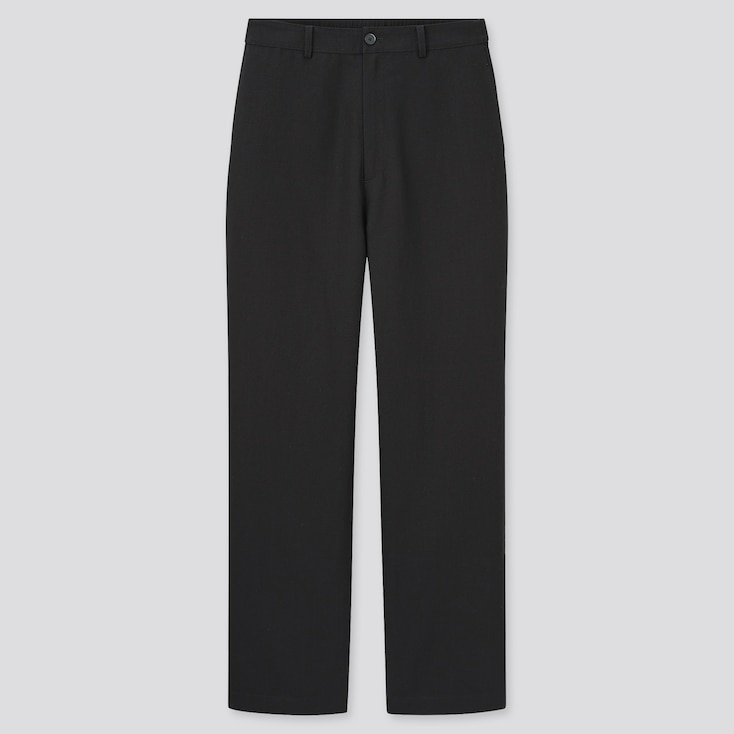 Women Linen Blend Relaxed Straight Pants, Black, Large