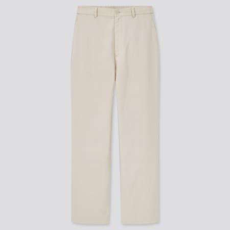 Women Linen Blend Relaxed Fit Straight Leg Trousers